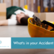 Text reads: What's in your Accident Book? Picture showing a man lying on the floor having fallen in a work setting. There is a yellow hard hat lying upside down in the foreground.