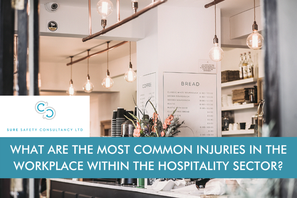Counter in a Cafe with the title 'What are the most common injuries in the workplace within the hospitality sector?' across the image.