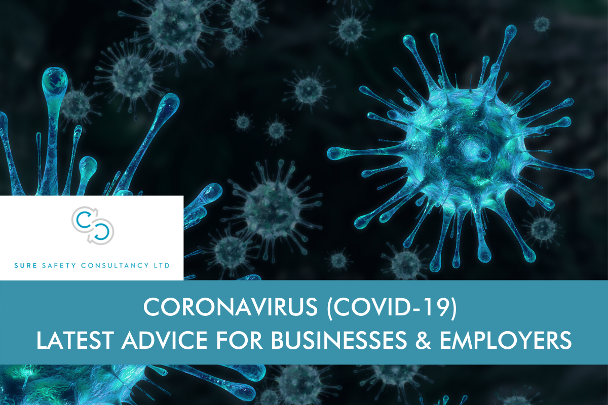Virus image with the blog title 'Coronavirus (Covid-19) – Latest Advice for Business & Employers' as text and Sure Safety Consultancy logo.